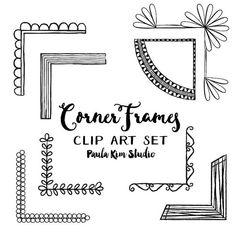 Corner Frames Clipart Set, Digital Frame Instant Download, Hand Drawn Border…