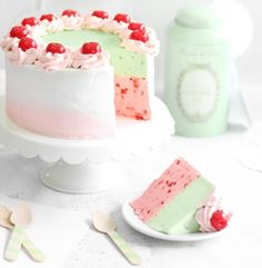 Okay. Calling this cake is a bit of a misnomer. Yes, it's cake-shaped with stacked layers made for slicing and it's even frosted, but there's nary a crumb to speak of. It's 100% mousse, in cherry chip...