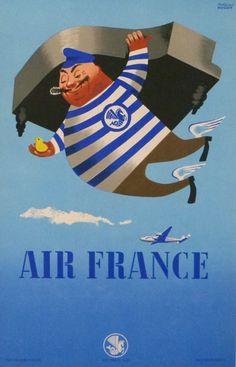air france fret : 1952 affiches anciennes de HUGON R.