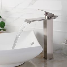 Brushed Nickel Finish Waterfall Design Single Lever Vessel Sink - Here's the faucet I chose for this bathroom project.