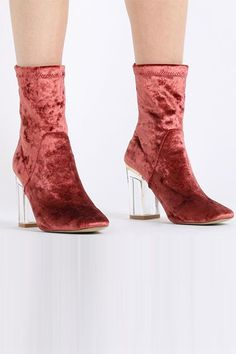 Opt for a lighter hue, like blood orange, if you're hoping to transition these into spring.Chloe Perspex Heeled Boots In Rust Velvet, $49.99, available at Public Desire. #refinery29 http://www.refinery29.com/2016/11/128345/pinterest-top-bootie-for-fall-photos#slide-26