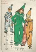 An original ca. 1971 Butterick pattern 6363.  Children's & Girls Clown Costume.