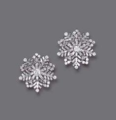 Doris Duke's Diamond Ear Clips - c. 1946 - Van Cleef & Arpels - platinum - $62,140 at auction
