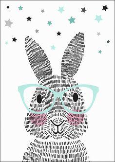 Poster - Mr. Rabbit #bunny #kinderkamer #kidsroom