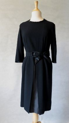 1950s Vintage  - Vintage Dress - Black Wool Dress With Satin Under Skirt - Bust 91 cm
