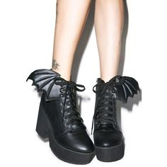 Iron Fist Bat Wing Platform Boots ($70) ❤ liked on Polyvore featuring shoes, boots, vegan leather shoes, faux-leather boots, high heel platform shoes, high heeled footwear and wing shoes