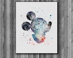 Mickey Mouse disney - Art Print, instant download,  Watercolor Print, poster by digitalaquamarine on Etsy https://www.etsy.com/listing/213897477/mickey-mouse-disney-art-print-instant