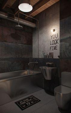 כאן גר גבר-גבר: לופט בעיצוב תעשייתי | בניין ודיור Floors great - no mirror - floor drain and no curtain?  Cold toilet seat :(