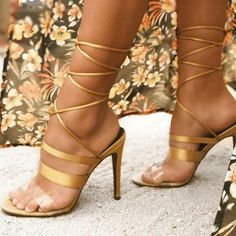 Multi Strap Design Wrap Around Sandal Heels