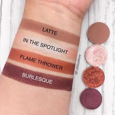 Makeup Geek Eyeshadows in Latte, In The Spotlight, Flame Thrower, and Burlesque. Picture by @futilitiesmore.