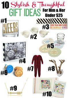 10 Gift Ideas for Him and Her Under $25 via rainonatinroof.com #giftideas