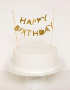 Torta de cumpleaños feliz brillo de oro por stephlovesben en Etsy