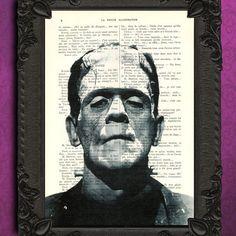 FRANKENSTEIN art print - Horror dictionary art print - black and white frankenstein monster home decor - halloween decoration book art