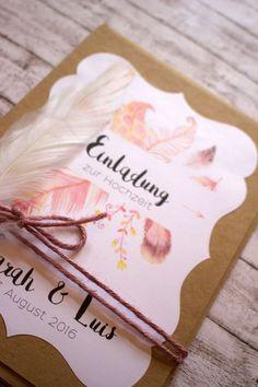 """Einladungskarten - Einladung Hochzeit """"Feather"""" 40 Stk. - ein Designerstück von KartenliebeHamburg bei DaWanda"""