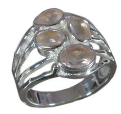 925 Solid Sterling Silver Ring Natural Rose Quartz Gemstone US Size 8.75 JSR-650 #Handmade #Ring
