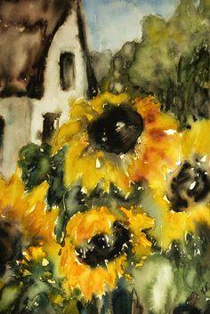 Neu in meiner Galerie bei OhMyPrints: Sonnenblume mit Haus
