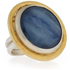 Gurhan Galapagos Kyanite Cocktail Ring ($946) ❤ liked on Polyvore featuring jewelry, rings, silver gol, gurhan jewelry, band jewelry, 24 karat gold jewelry, blue jewelry and 24 karat gold ring