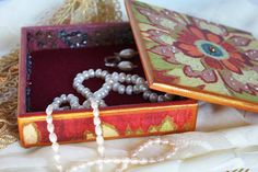 Wooden Jewelry Box Trinket Box  Jewellery by ArtKaleydoskop2015