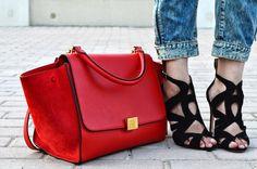 Red Celine and black sandals