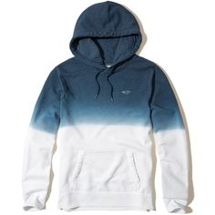 Hollister Dip-Dye Icon Hoodie (3,225 INR) ❤ liked on Polyvore featuring men's fashion, men's clothing, men's hoodies, blue, mens blue hoodies, mens hoodies, mens slim fit hoodies, mens sweatshirts and hoodies and mens fleece hoodies