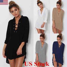 6660bbb45b US Women V Neck Long Sleeve Blouse Button Down Top Shirt Casual Loose Mini  Dress