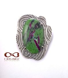 The pendant is made of fine silver (Art Clay Silver) and the ruby zoisite cabochon is set with prongs. Unique piece of jewelry! Jewelry Art, Gemstone Rings, Clay, Turquoise, Pendant, Silver, Handmade, Clays, Hand Made
