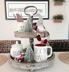 Ok, this is one of the cutest tray arrangements I have ever seen! Every single item in this beautiful tiered tray is perfectly placed to create the ultimate Christmas vignette. Nicole @myautumnfarmhouse, you always post the best pictures. Loaded full of inspiration and farm-chic goodness, your feed is absolutely gorgeous and I truly enjoy following along. Just another great gal to follow along with, friends. Hoping it is a great night for you all! #onetofollow #homedecor #homedesign…