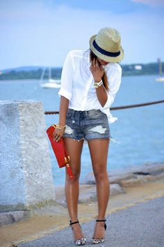 cute -- not digging the shoes with the outfit but love the cut off shorts and white button down with clutch color splash
