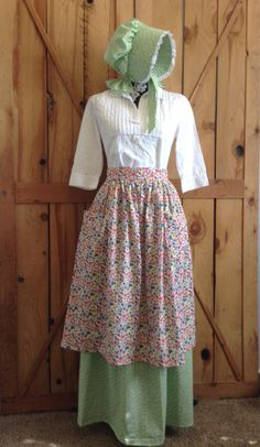 Fun Womens pioneer skirt apron bonnet prairie by CuteMormonStuff