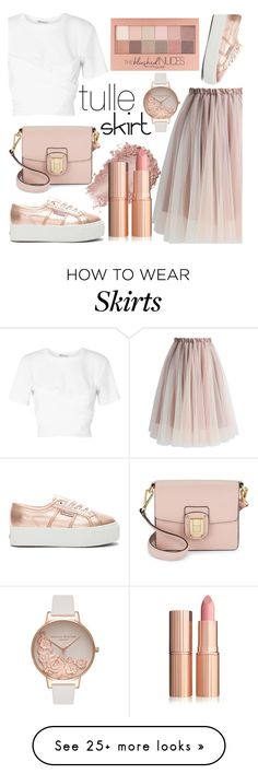 """Tulle Skirt"" by cm-christy on Polyvore featuring Chicwish, T By Alexander Wang, Superga, Sam Edelman, Olivia Burton and Maybelline"