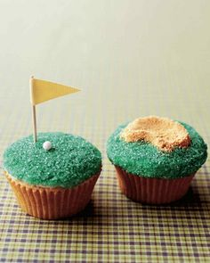 Present Dad with a bunch of golf-themed cupcakes, complete with putting greens and sand traps, on his special day. The mini greens are adorned with colored sanding sugar, a candy golf ball, and a ribbon flag; graham-cracker crumbs stand in for sand. Buy