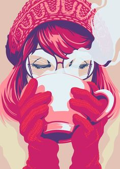 Nostalgic, hand-painted illustration by Phil. Available for commissions: advertising, design, book publishing, editorial conceptual illustration. Art And Illustration, Coffee Illustration, Coffee Girl, Coffee Lovers, Super Heroine, Anime Lindo, Coffee Drawing, Coffee Painting, Spider Gwen