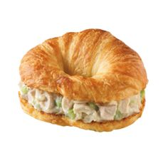 Dunkin' Donuts Chicken Salad is served on a croissant or in a wrap. See recipe here: http://www.copycatrecipeguide.com/How_to_Make_Dunkin_Donuts_Chicken_Salad