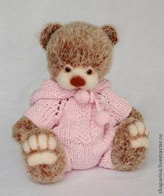 Вязаные Тедди Медведи: МК мишка тедди в вязано-валяной технике