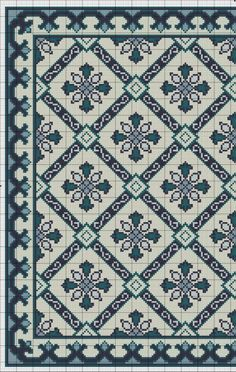 ru / Photo # 3 - Blue Tile Carpet and Pillow - azteca Cross Stitch Pillow, Cross Stitch Borders, Cross Stitch Flowers, Cross Stitch Charts, Cross Stitch Designs, Cross Stitching, Cross Stitch Patterns, Carpet Tiles, Rugs On Carpet
