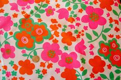 vintage neon flower fabricpattern, this one is awesome!