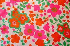 vintage neon flower fabric