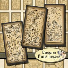 Vintage tarot card images for dominos, available at PassionFruitImages on etsy.