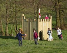 Unbranded Play Castle Playhouse with Slide Playset Diy, Backyard Playset, Backyard Playground, Backyard For Kids, Diy For Kids, Preschool Playground, Playground Ideas, Castle Playhouse, Diy Playhouse