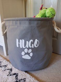 Personalised dog toy trug for 🐶 Also available in natural. Dog Toy Storage, Toy Storage Baskets, Dog Photo Frames, Dog Toy Basket, Sweet Jars, Dog Treat Jar, Personalised Frames, Dog Bag, Jar Gifts