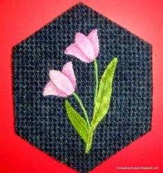 Stitching Society Wool Hexagon tulips