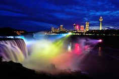 View from Prospect Pointe of the American Falls and Canadian Skyline, Niagara Falls Illumination show