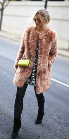 Finish your holiday dress look with a fab faux fur coat. | Warm and chic!