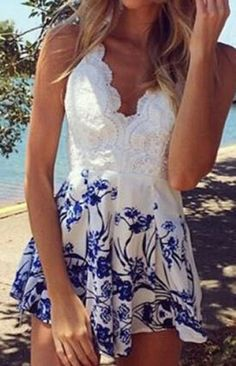 Cute + Stylish Blue and White Plunging Neck Sleeveless Floral Print Backless Women's Romper