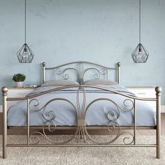 Art Deco Bedroom, Bedroom Bed Design, Bedroom Decor, King Metal Bed, Metal Beds, Iron Furniture, Steel Furniture, Furniture Design, Steel Bed