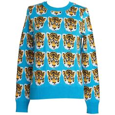 LIBERTINE Sweater Baby Tiger Faces Print Crewneck  M So Charming | From a collection of rare vintage sweaters at https://www.1stdibs.com/fashion/clothing/sweaters/