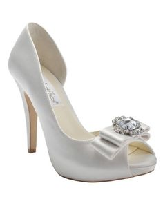 Look like a princess at your wedding in these majestic d'Orsay pumps. Style Claire. #davidsbridal #weddingshoes