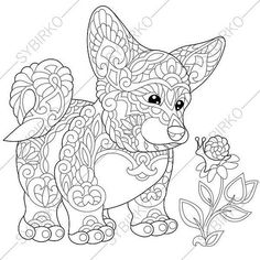 Coloring page of welsh corgi dog and butterfly on a flower. Freehand sketch drawing for adult antistress coloring book in zentangle style. Free Adult Coloring, Dog Coloring Page, Adult Coloring Book Pages, Animal Coloring Pages, Colouring Pages, Coloring Books, Cardigan Welsh Corgi Puppies, Corgi Dog, Corgi Funny