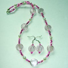 Pink Pearl Beaded Necklace and Earrings