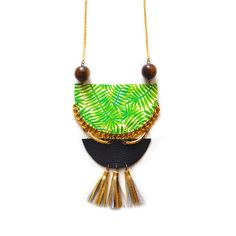 Plant Statement Necklace with Tassels, Palm Tree Geometric Necklace with Wood and Brass by BooandBooFactory